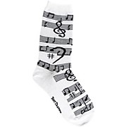 Foot Traffic Music Notes Women's Socks White