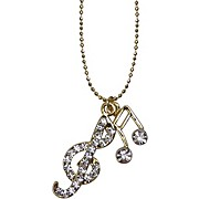 AIM Musical Notes/Treble Clef Crystal Necklace