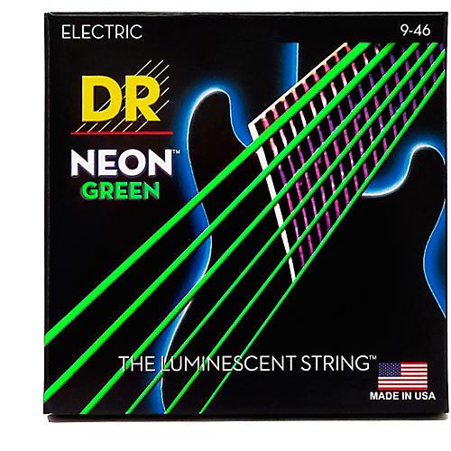 DR Strings NEON Hi-Def Green SuperStrings Light Top Heavy Bottom Electric Guitar Strings-thumbnail