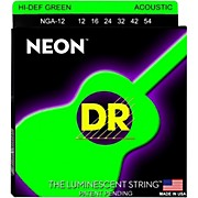 DR Strings NGA-12 NEON Hi-Def Phosphorescent Green Acoustic Strings Medium