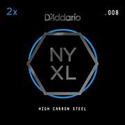 D'Addario NYPL008 Plain Steel Guitar Strings 2-Pack, .008
