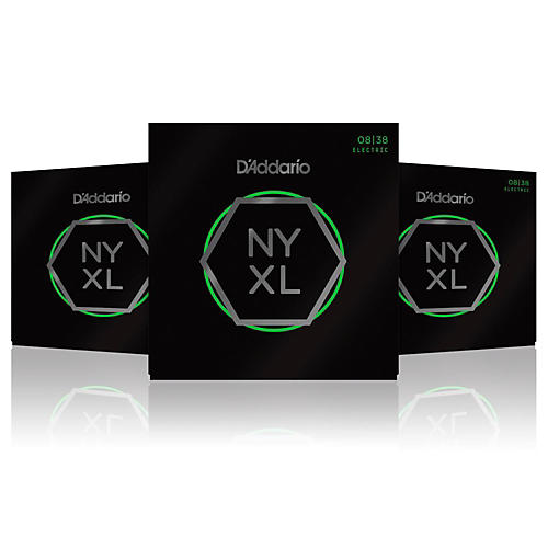 D'Addario NYXL0838 Extra Super Light 3-Pack Electric Guitar Strings-thumbnail