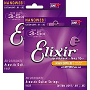Elixir Nanoweb Custom Light Acoustic Guitar Strings 2-Pack