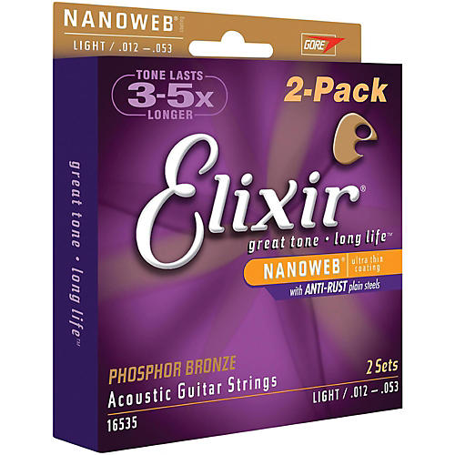Elixir Nanoweb Light Phosphor Bronze Acoustic Guitar Strings 2-Pack-thumbnail