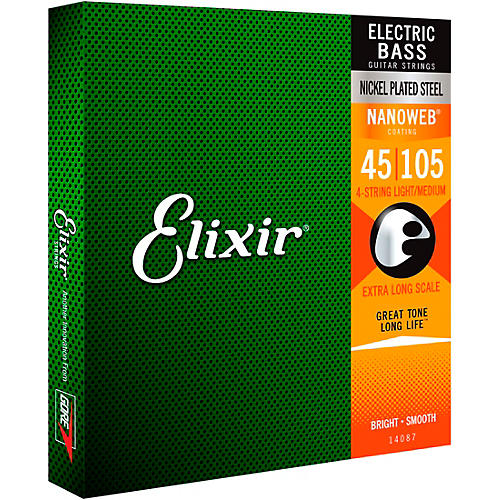 Elixir Nickel-Plated Steel 4-String Bass Strings with NANOWEB Coating, Extra Long Scale, Light/Medium (.045-.105)-thumbnail