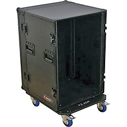 Odyssey Black Label 16-Space Amp Rack with Wheels (FZAR16WBL)