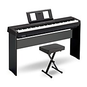 Yamaha P-45 88-Key Weighted Action Digital Piano Black with Wood Stand and Bench