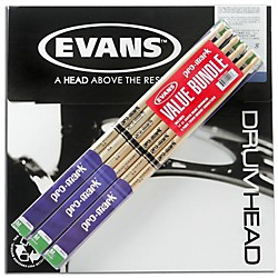 "PROMARK 6-Pair American Hickory Drumsticks with B14G1 14"" Evans Coated Drumhead (TX5AW6-B14G1)"