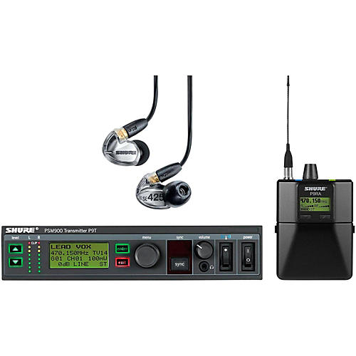 Shure PSM900 System with P9RA Rechargeable Bodypack Receiver and SE425CL Sound Isolating Earphones-thumbnail
