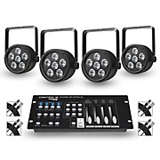 Proline Package of 4 ProLine VENUE ThinTri38 Tri-color LED Par Wash Lights with DMX Controller and Cables