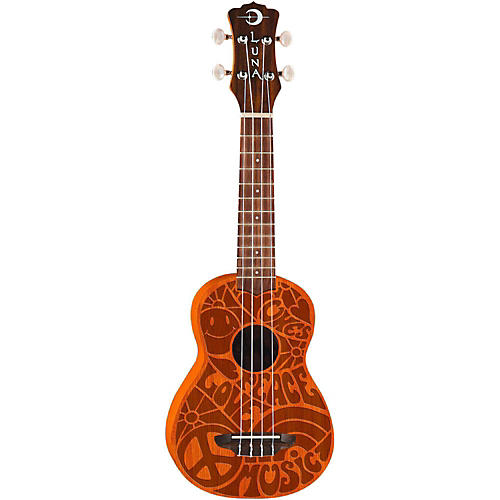 Luna Guitars Peace Love Soprano Ukulele-thumbnail