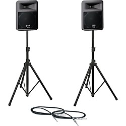 Peavey PR12D Speaker Pair with Stands and Cables (PR12DPAIRWSTD)