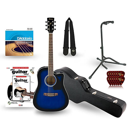Ibanez Performance Series PF15 Cutaway Dreadnought Acoustic-Electric Guitar Deluxe Bundle-thumbnail