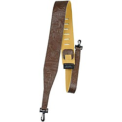 "Perri's 2.5"" Tooled Western Flower Embossed Leather Banjo Strap with Swivel Hooks (P25WBJ-573)"