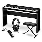 Casio Privia PX-160BK Digital Piano with CS-67 Stand Sustain Pedal Deluxe Keyboard Bench and Headphones