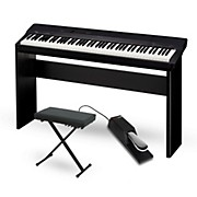 Casio Privia PX-160BK Digital Piano with CS-67 Stand Sustain Pedal and Deluxe Keyboard Bench