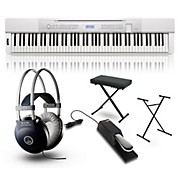 Casio Privia PX350 Digital Piano White with Stand, Sustain Pedal, Deluxe Keyboard Bench and Headphones