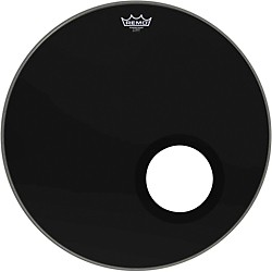 Remo Ebony Powerstroke 3 Resonant Bass Drum Head with 5 Inch Port Hole (P3-1022-ES-DM)