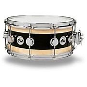 DW Reverse Edge Snare Black Core with Maple Rings and Chrome Hardware