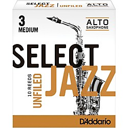 Rico Select Jazz Unfiled Alto Saxophone Reeds (RRS10ASX3M)