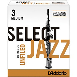 Rico Select Jazz Unfiled Soprano Saxophone Reeds (RRS10SSX3M)