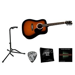 Rogue Beginner Acoustic Dreadnought Guitar with Accessory Pack (RA100D BEG BNDL SNBST)