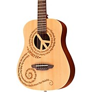 Luna Guitars Safari 3/4 Size Travel Guitar with Peace Design