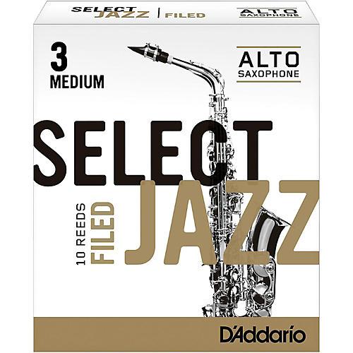 D'Addario Woodwinds Select Jazz Filed Alto Saxophone Reeds Strength 3 Medium Box of 10-thumbnail