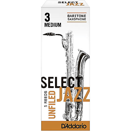 D'Addario Woodwinds Select Jazz Unfiled Baritone Saxophone Reeds Strength 3 Medium Box of 5-thumbnail