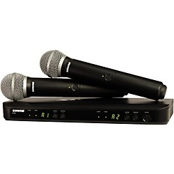 Shure BLX288/PG58 Dual-Channel Wireless System with 2 PG58 Handheld Transmitters (BLX288/PG58-J10)