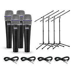 Shure Beta 57A Dynamic Mic with Cable and Stand 4 Pack (BETA57A4Pack)
