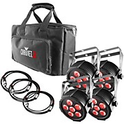 CHAUVET DJ SlimPACK Q6 USB - 4 SlimPAR Q6 USB Wash Lights and 3 DMX Cables with Gear Bag
