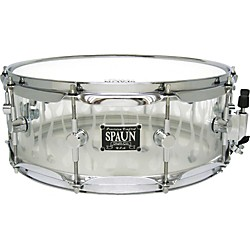 Spaun Acrylic Clear Snare Drum with Sandblasted Flames and Chrome Hardware (AC5514SC-CF)