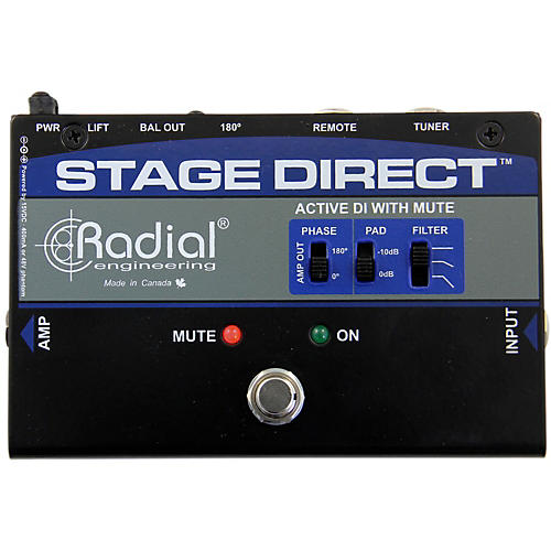 Radial Engineering StageDirect Active DI Box w/ Footswitch Mute and Tuner Out-thumbnail