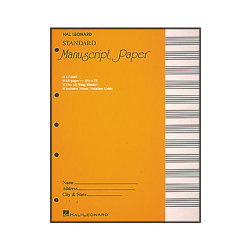 Manuscript Paper Standard Wire Bound 12 Stave 96 Pages with Music Notation Guide