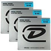 Dunlop Super Bright Light Top/Heavy Bottom Nickel Wound Electric Guitar Strings (9-46) 3-Pack