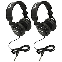 TASCAM TH-02 Recording Studio Headphones, 2-Pack, Black (TH-02-B BOGO Kit)