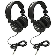 Tascam TH-02 Recording Studio Headphones, 2-Pack, Black