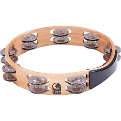 Toca Acacia Wood Double Row Tambourine (T1010-A)