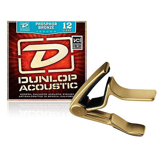 Dunlop Trigger Curved Gold Capo and Phosphor Bronze Light Acoustic Guitar Strings -thumbnail