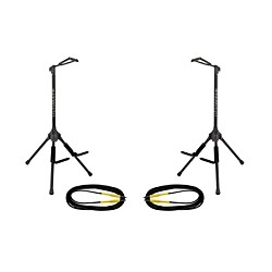 Ultimate Support GS-200 Genesis Single Guitar Stand 2-Pack w/Free Cables (13711-2PK-KIT)