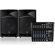 Harbinger V2115 Loudspeaker with Alto Pro ZMX122FX 8-Channel Mixer