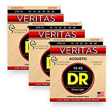 DR Strings Veritas - Perfect Pitch with Dragon Core Technology Custom Light Acoustic Strings (10-48) 3 Pack