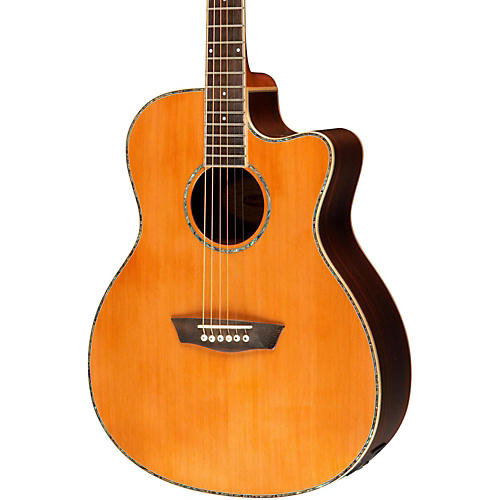 Washburn WG26SCE Solid Cedar Top Acoustic Cutaway Electric Grand Auditorium Rosewood Guitar with Fishman Preamp And Tuner-thumbnail