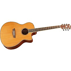 Washburn WG16SCE Solid Cedar Top Acoustic Cutaway Electric Grand Auditorium Mahogany Guitar With Fishman Prea (WG16SCE)