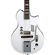 Supro White Holiday Vibrato Semi-Hollow Electric Guitar