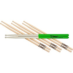 Zildjian 4 for 3 Super 7AW and S7A Maple Green Dip Drumsticks (SDSP208)