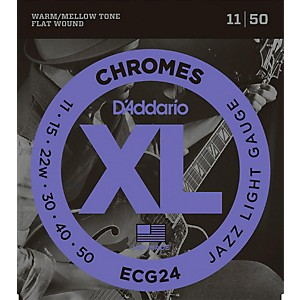 D-Addario-XL-Chromes-Jazz-Light-Electric-Guitar-Strings-ECG24-Flatwound-Standard