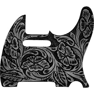 El-Dorado-Hand-Tooled-Leather-Tele-Pickguard-Black