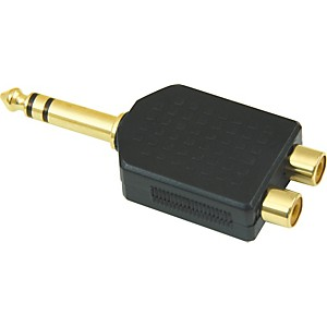 American-Recorder-Technologies-1-4-inch-Male-Stereo-to-2-RCA-Female-Adapter-Gold